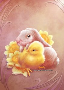 Lapin et poussin de Pâques