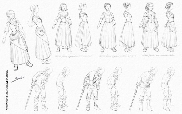 Recherches de costumes pour la nouvelle en BD « Histoire des deux cailloux »