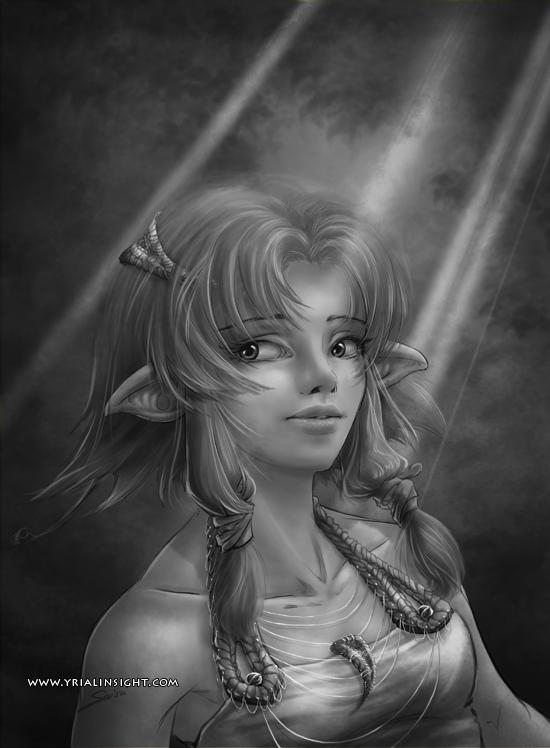 elfe au bois - test en noir et blanc de l'étape 5