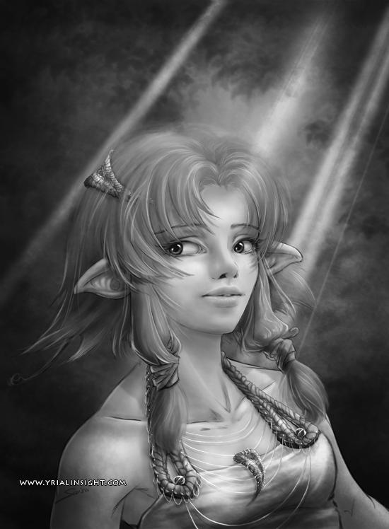 elfe au bois - test en noir et blanc de l'étape 6