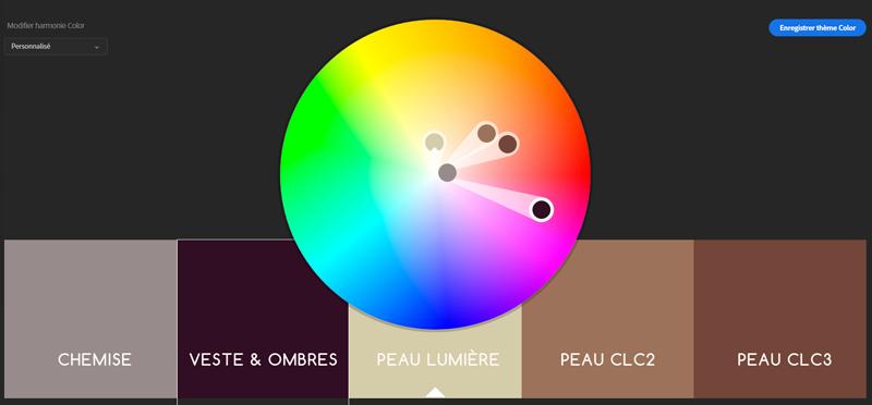 roue chromatique après modification dans Adobe Kuler