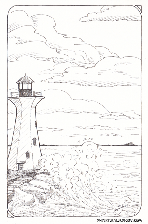 Dessin à l'encre, phare serti d'écume