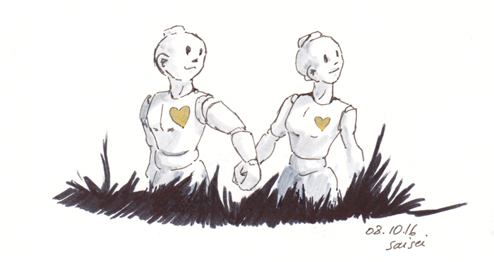 Deux petits robots humanoïdes en promenade, inktober 2016