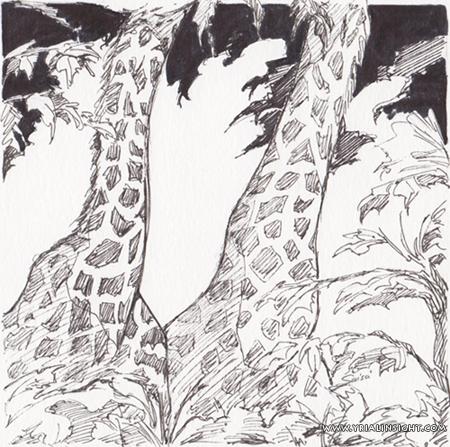 """inktober2017 """"long"""" ou duo de girafes"""