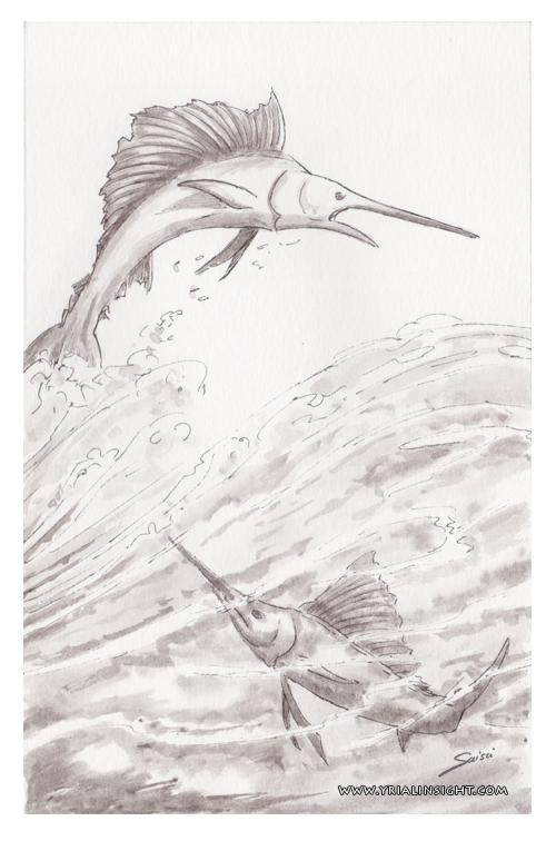 Inktober2017 | couple de poisson-épée jouant dans les vagues