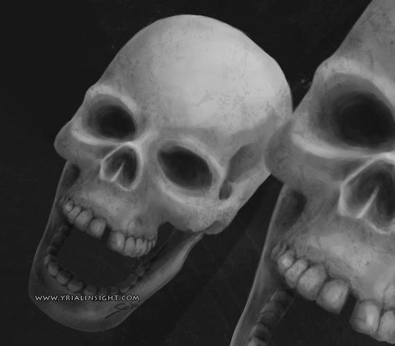 vue d'un crâne humain de face légèrement en plongée