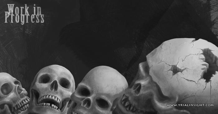 Crânes humains et crâne de ... Shinigami ! | preview partielle d'une illustration