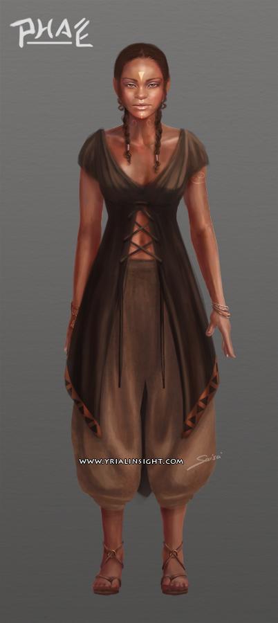 Phaé, charadesign : costume de la planche 1