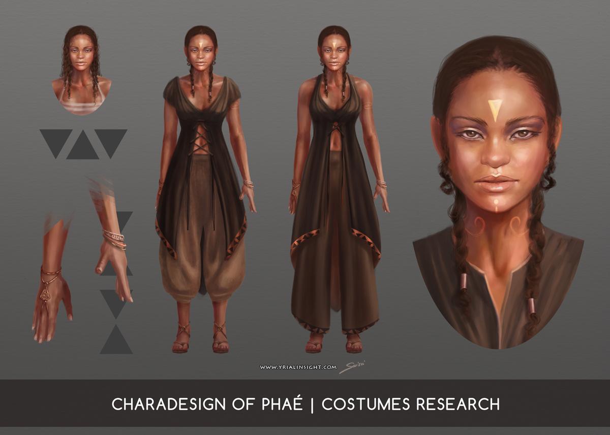 Phaé, charadesign : recherches de costumes planche 1