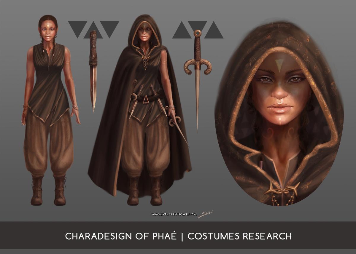 Phaé, charadesign : recherches de costumes planche 2