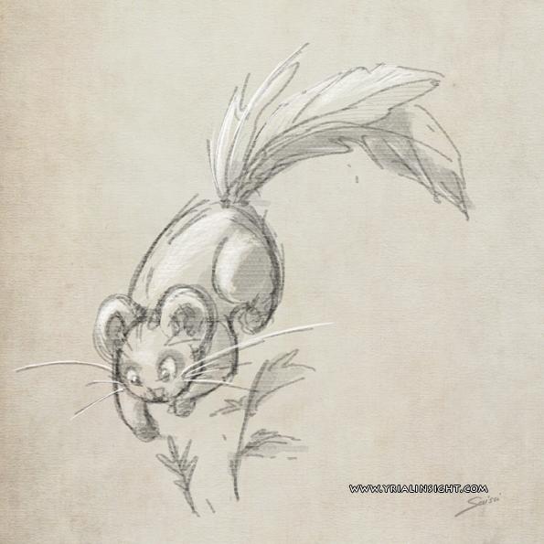 croquis de souris à plumes