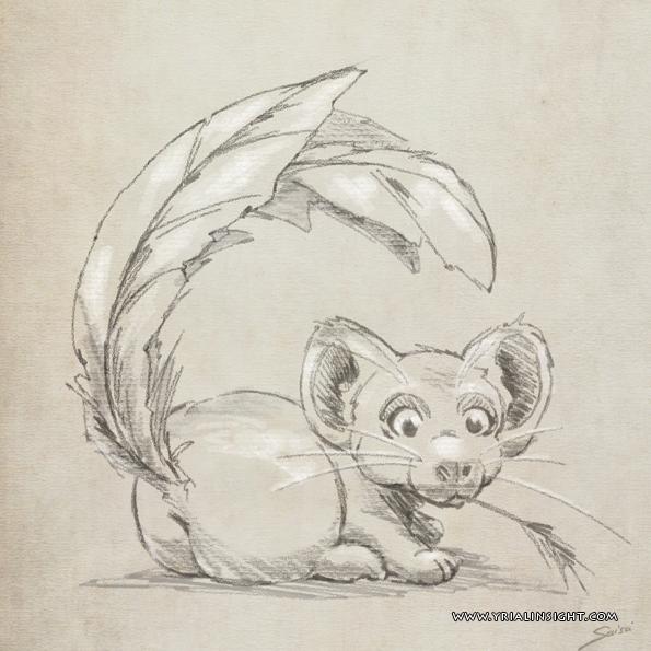 souris à queue en plume mâchonnant une brindille