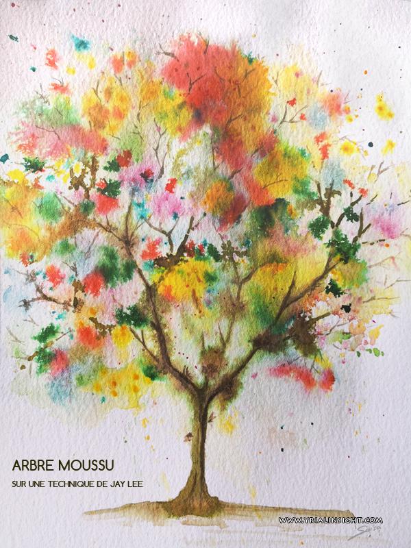 Arbre moussu et multicolore à l'aquarelle