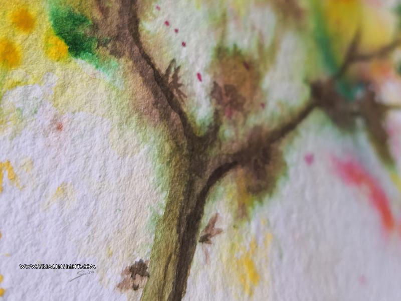 Tronc d'un arbre moussu à l'aquarelle - grain torchon rough