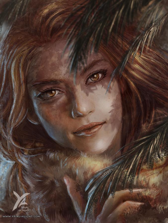 Illustration de style réaliste, portrait d'Amaudra, un personnage du roman Le Choix du Roi