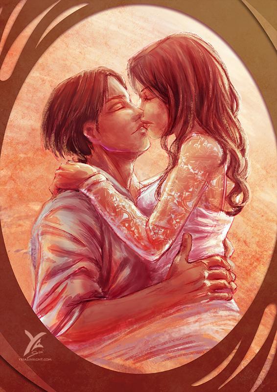 Couple tendrement enlacé - illustration couleur de Saint Valentin