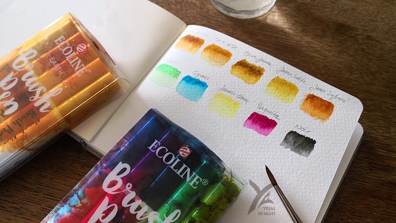 Boîte colorée et teintes lumineuses et intenses pour les brush pen Ecoline