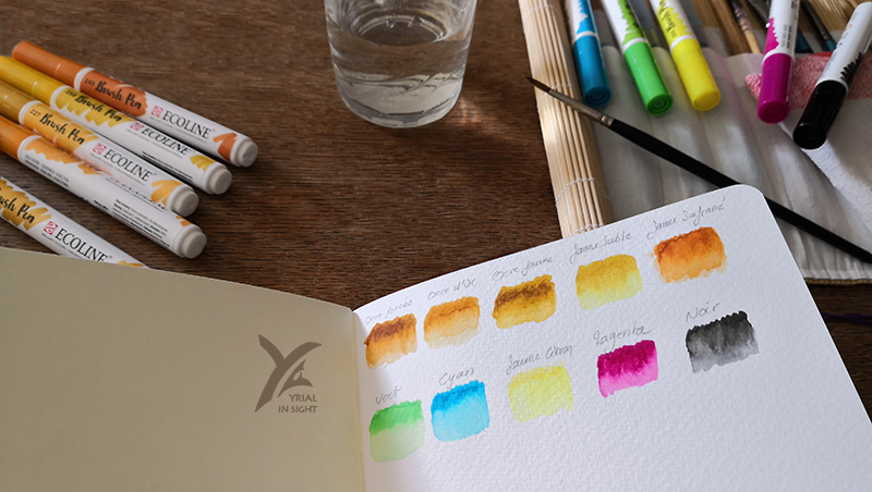 feutres aquarelles Ecoline : test de gradient à l'eau, estompé au pinceau
