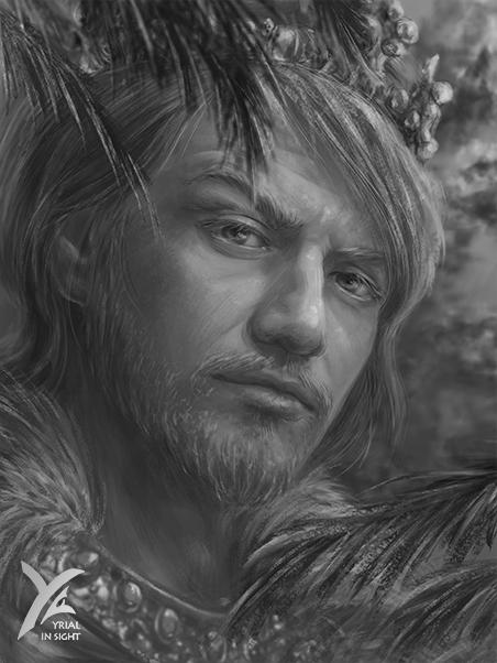 Illustration en noir et blanc, portrait de Charles, un personnage du roman Le Choix du Roi