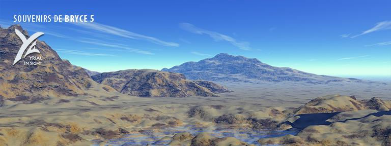 Lac et terrains - combinaison d'objets booléens - Bryce 5
