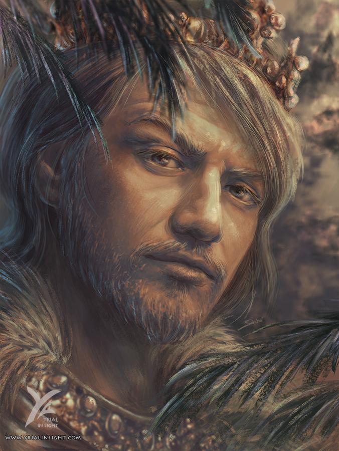 Illustration de style réaliste, portrait de Charlemagne, un personnage du roman Le Choix du Roi