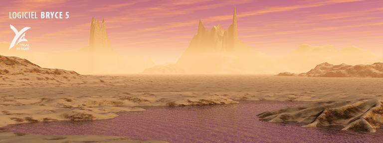 Une scène désertique avec une probable tempête de sable réalisée avec Bryce 5