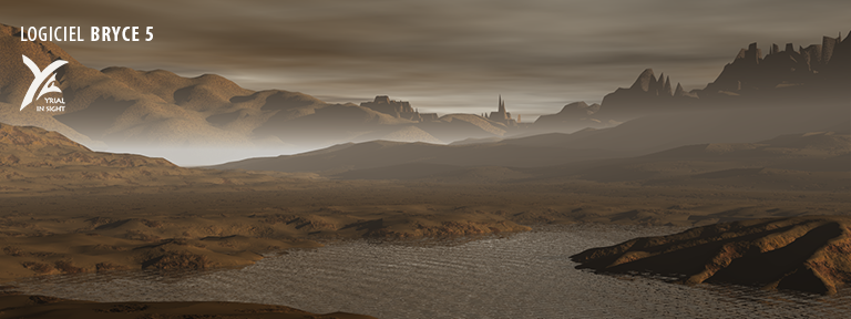 La même scène, modélisée avec Bryce 5, pour un terrain présentant des excavations