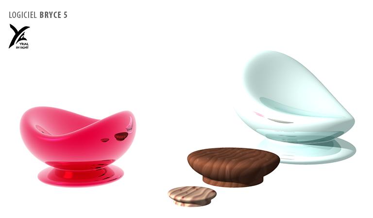 mobilier : fauteuils, sièges, socles - création d'objet 3D avec Bryce 5