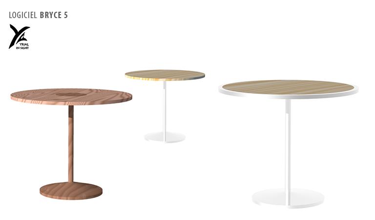 mobilier : tables et variantes de matières / textures- création d'objet 3D avec Bryce 5