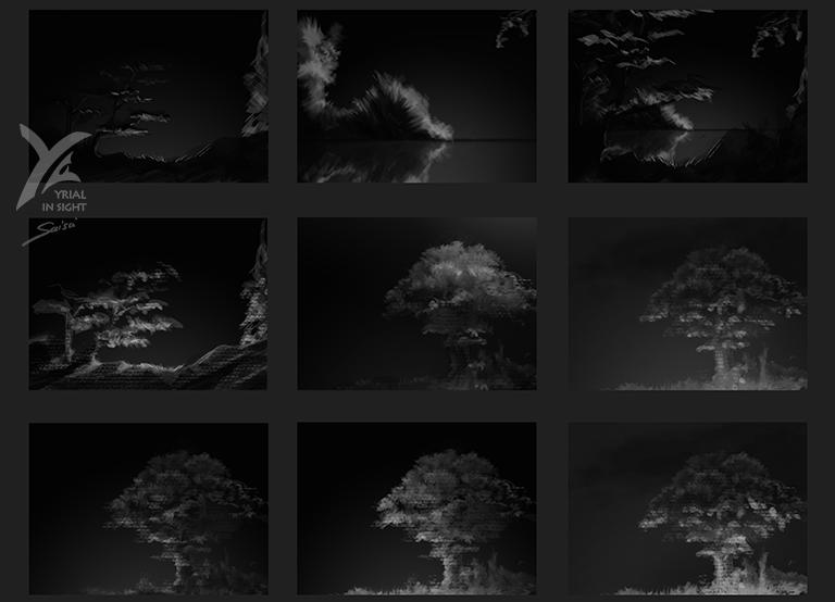 esquisses & dessins d'études : croquis d'arbres, de buissons et de berges la nuit