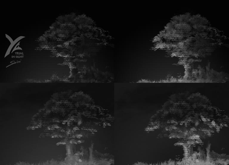 esquisses d'arbre de nuit, éclairages plus ou moins vifs