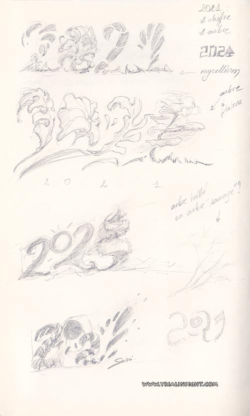 2021 : 1 chiffre pour 1 arbre. Croquis d'intention. Scan des crayonnés.