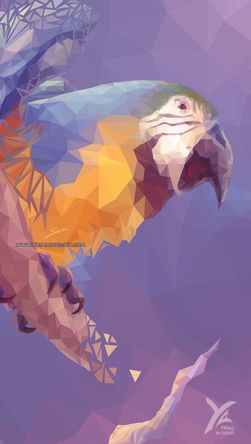 Perroquet Ara bleu et jaune, dessiné en art polygonal. Illustration de Saisei sur Yrial in Sight.