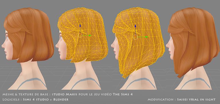 Rendu 3D : meshes 3D originaux versus modifiés, vue du maillage et de la texture | matériel du jeu The Sims 4