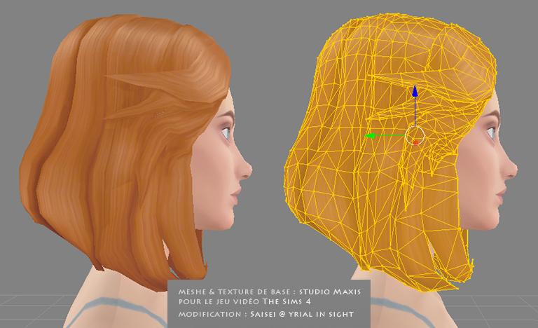 Rendu 3D : meshes 3D comparés au rendu texture avec les maps | matériel du jeu The Sims 4