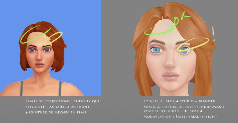 Tentatives de correction du mesh : front et mèche en biais | à gauche : Sims 4 Studio ; à droite : Blender