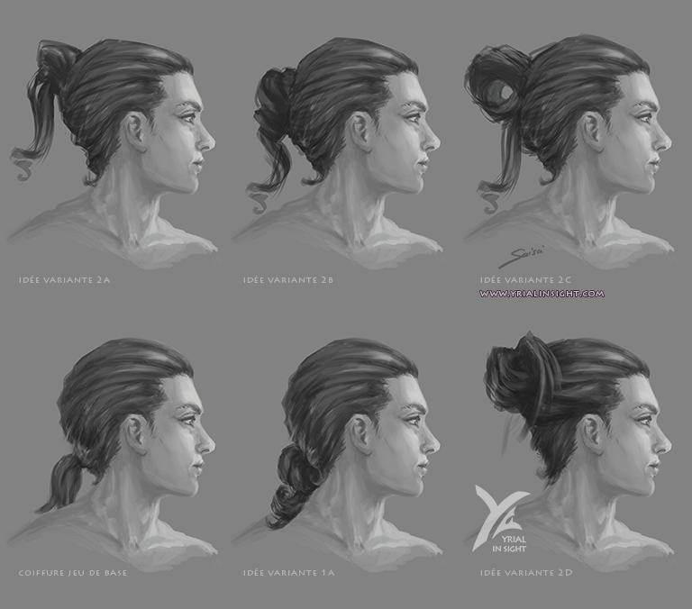 coiffure du jeu de base + esquisses de variantes | coiffures masculines de Sims