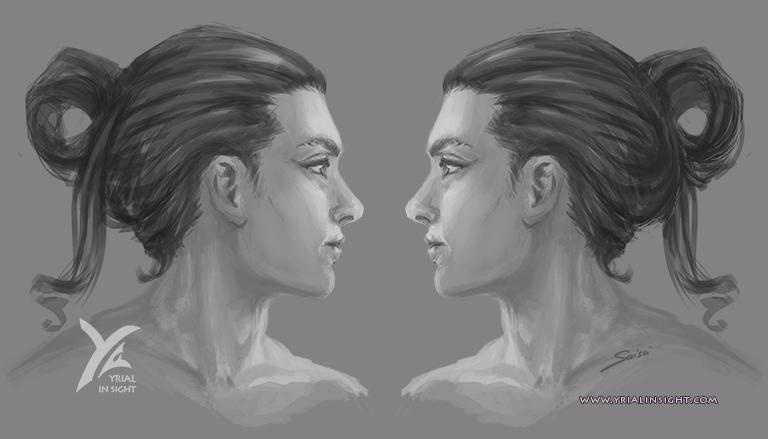 esquisses d'une variante | coiffures masculines de Sims | profils droit & gauche