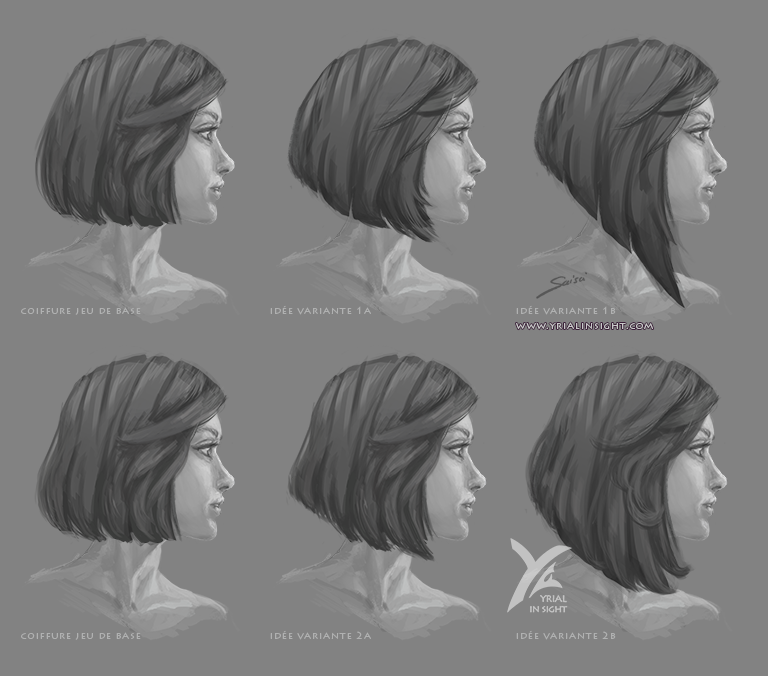 esquisse de visage féminin - coiffure en carré plongeant - version droite + version souple