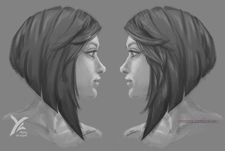 esquisse de visage féminin - coiffure en carré plongeant - profils gauche & droit